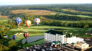 Holiday Inn at Blue Ridge Shadows aerial view with hot air balloons