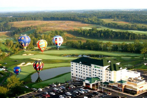Holiday Inn at Blue Ridge Shadows aerial view with hot air balloons